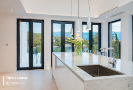 The white island in the middle of the kitchen with 4 - from bottom to top windows.