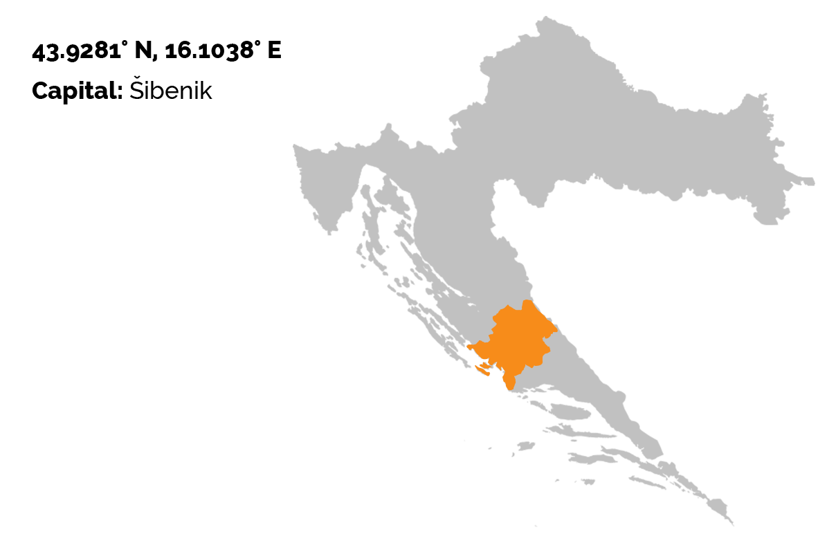 The grey map of Croatia on the white background, and the Šibenik-Knin county outlined in orange color.