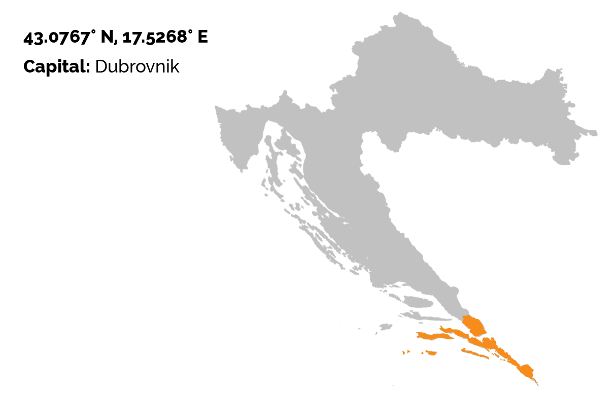 The gray map of Croatia on the white background and Dubrovnik-Neretva county outlined in oragne color.
