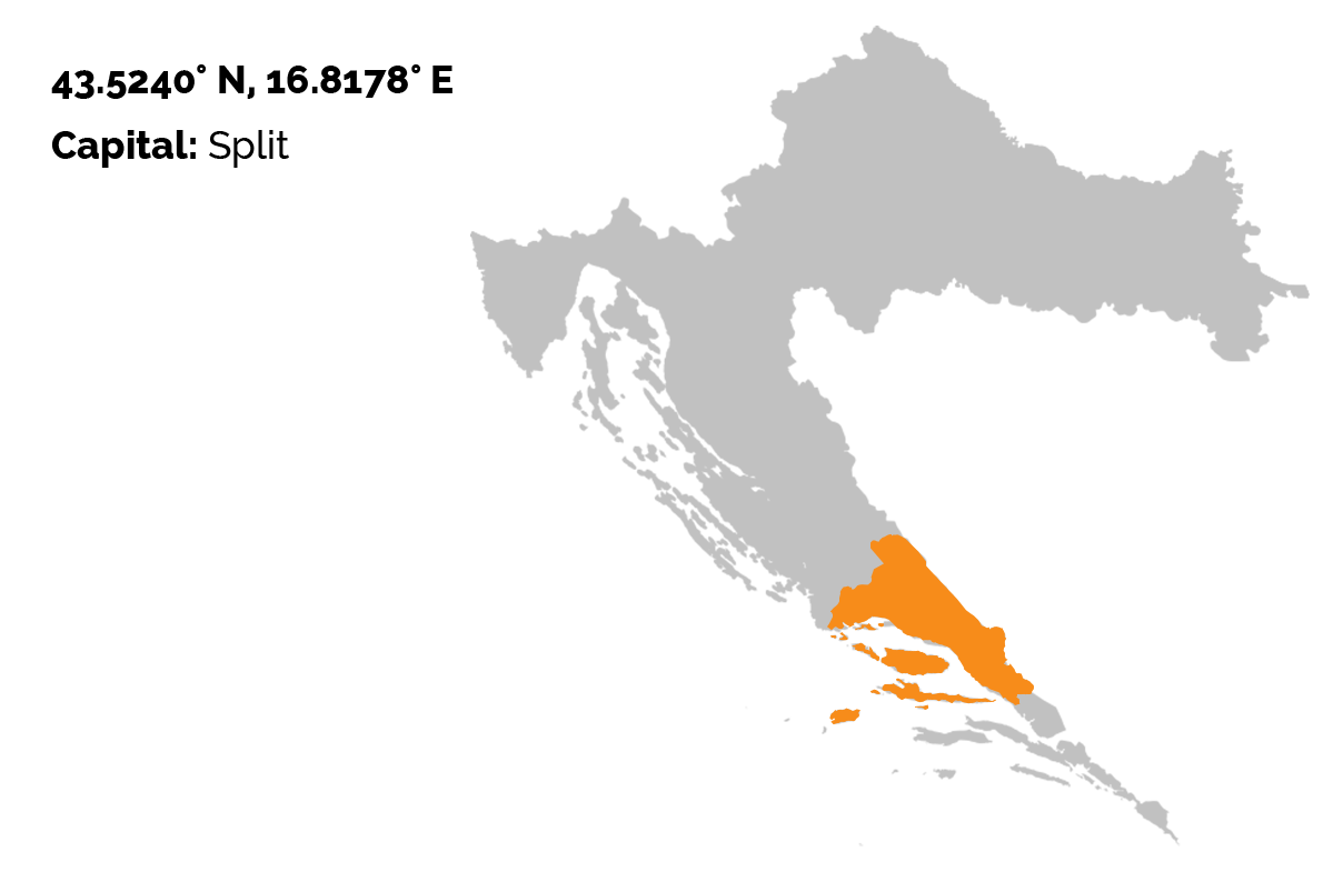 The map of Croatia in grey color, and the Split Dalmatia region outlined in orange color.