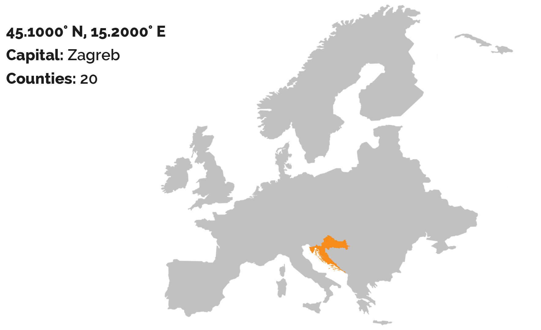 The gray map of the Europe with a Croatia colored in orange color. The map is on white background.