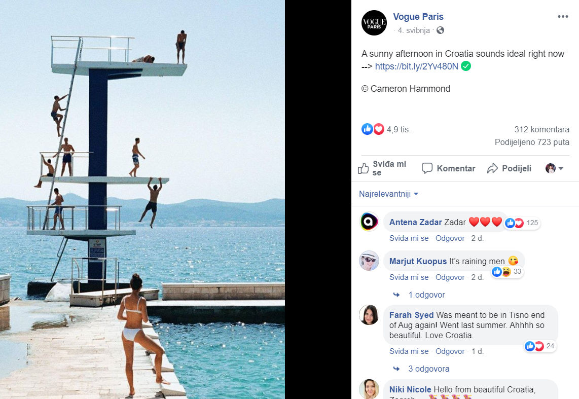 The facebook post of Vogue Paris with the image of Croatian beach.