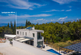The wide shot of the grey contemporary villa surrounded by green pine trees.